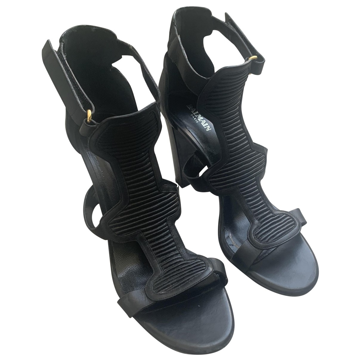 Balmain \N Sandalen in  Schwarz Leder