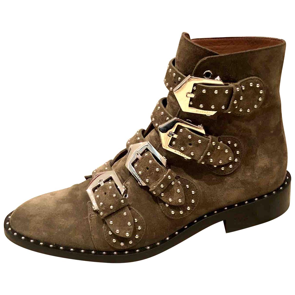 Givenchy - Boots   pour femme en suede - kaki