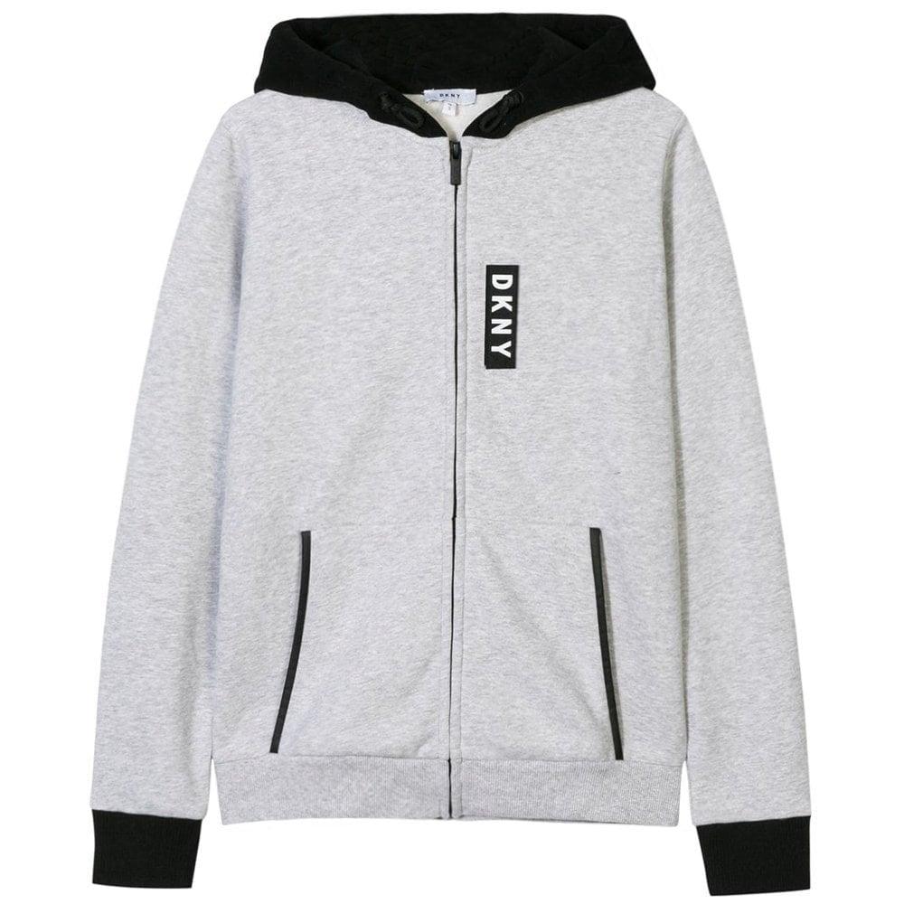 DKNY Kids Velcro Logo Zip Hoodie Grey Colour: GREY, Size: 12 YEARS
