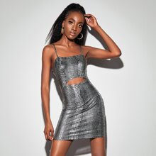 Cutout Front Crocodile Metallic Bodycon Dress