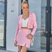Double Button Crop Blazer & Skirt Set
