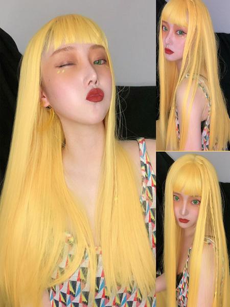 Milanoo Sweet Lolita Wigs Long Yellow Heat Resistant Fiber Lolita Hair Wig