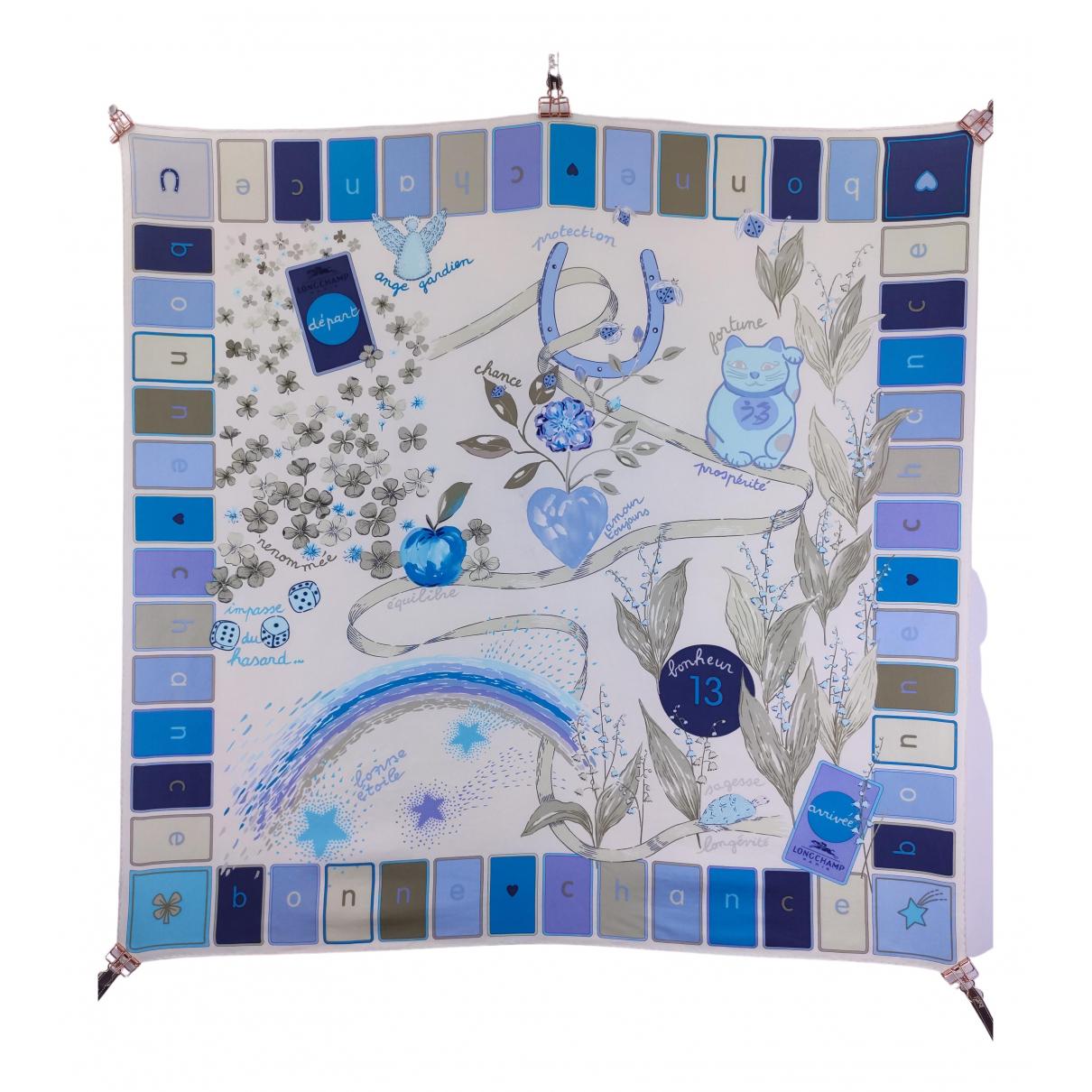 Longchamp - Carre   pour femme en soie - bleu