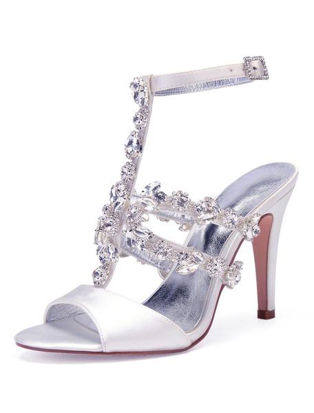 Milanoo Zapatos de novia de saten Zapatos de Fiesta de tacon de stiletto Zapatos plateado  Zapatos de boda de punter Peep Toe 10.5cm con pedreria