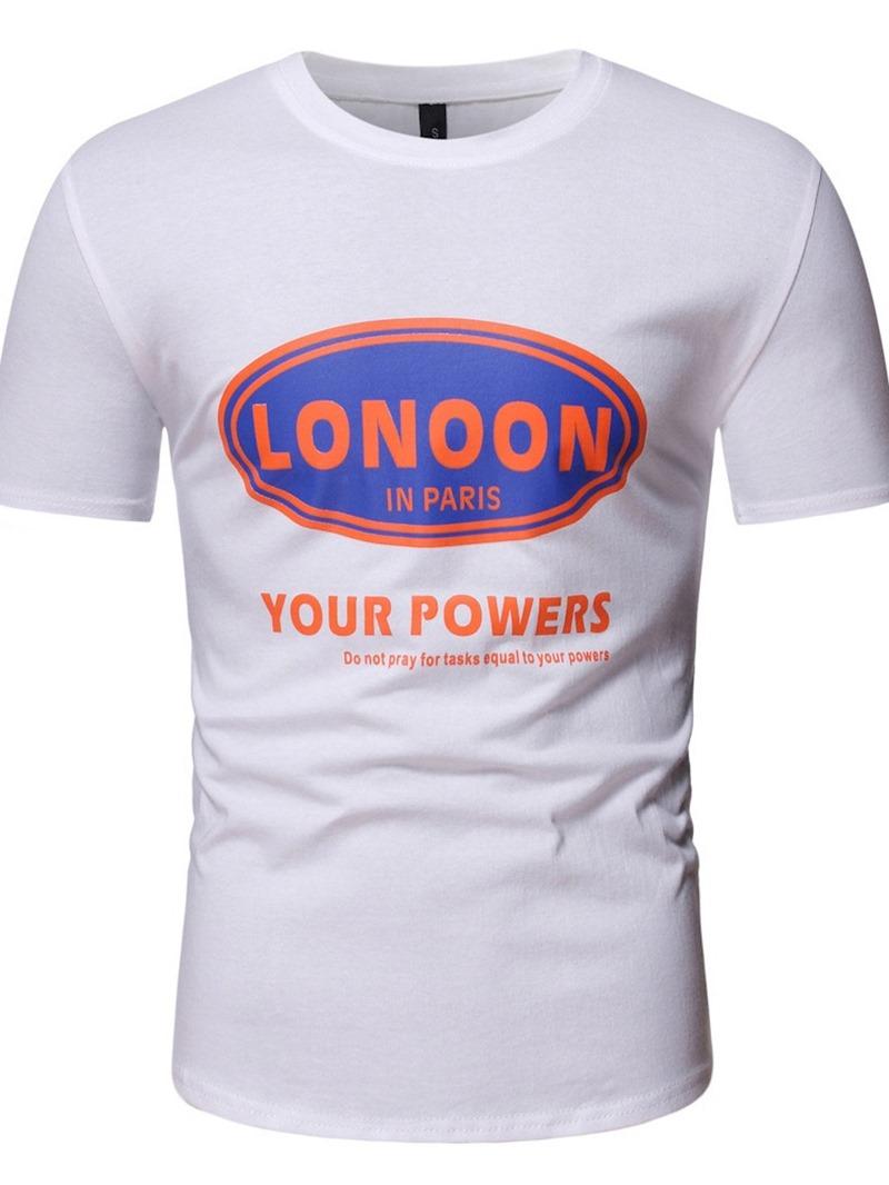 Ericdress Print Letter Round Neck Pullover Men's Short Sleeve T-shirt