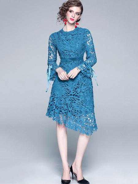 Milanoo Vestidos de encaje azul Mujer Vestidos ajustados de manga larga con cuello redondo