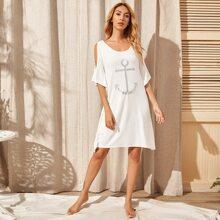 Kleid mit sehr tief angesetzter Schulterpartie, Raffungsaum und Anker Muster