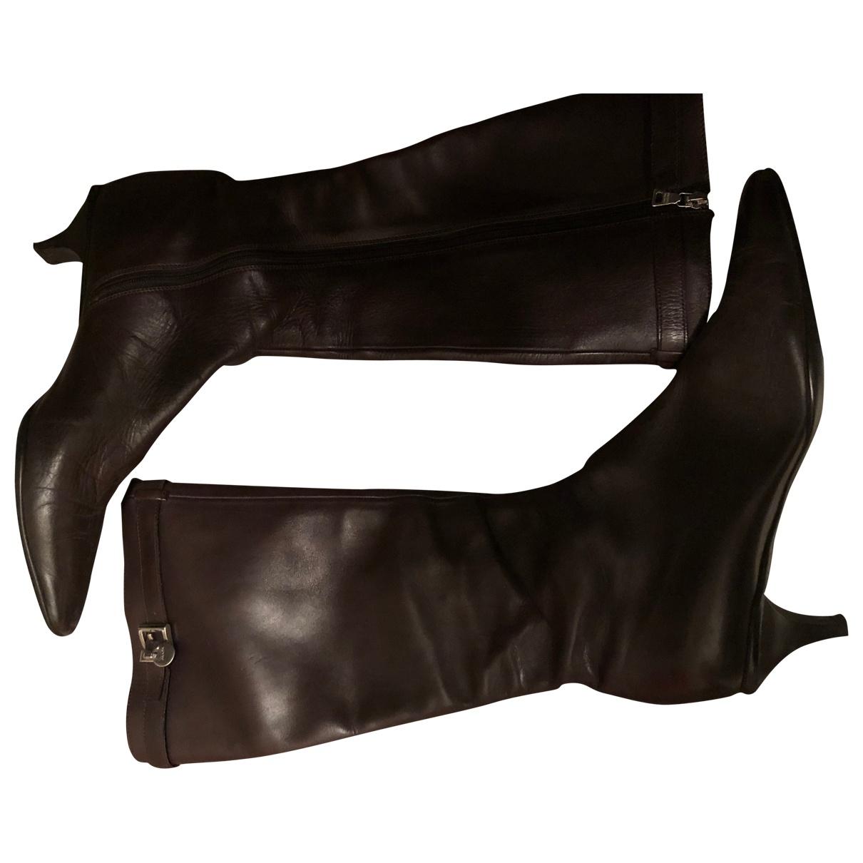Prada \N Brown Leather Boots for Women 38.5 EU