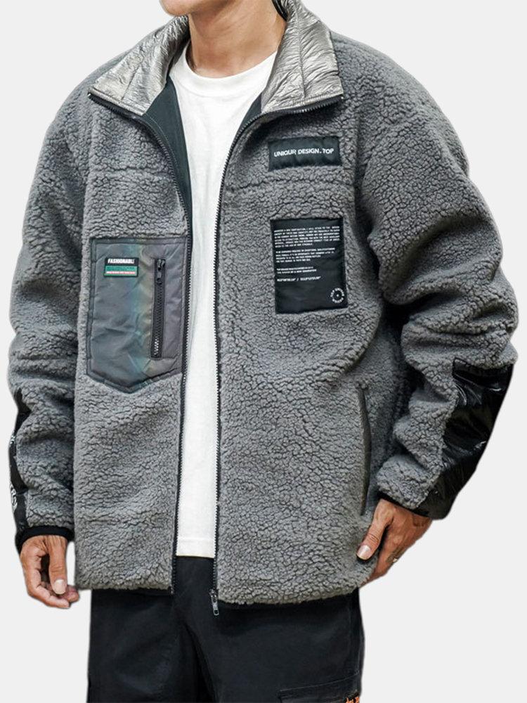 Mens Casual Thicken Fleece Warm Multi Pockets Patchwork Zipper Collar Coats