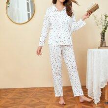 Conjunto de pijama con parche con bolsillo