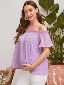 Maternity Frill Off Shoulder Swiss Dot Chiffon Top