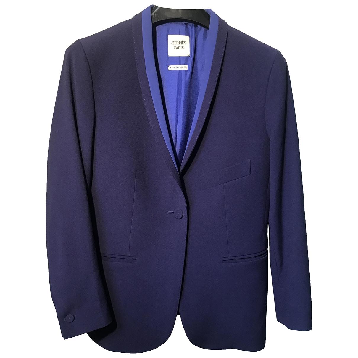 Hermes - Veste   pour femme en laine - bleu