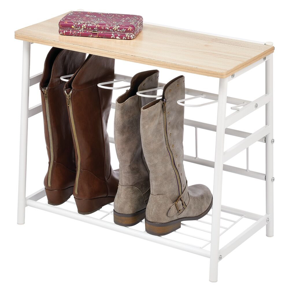 Metal Boot Storage Organizer Rack with Top Bench in White/Natural, 20