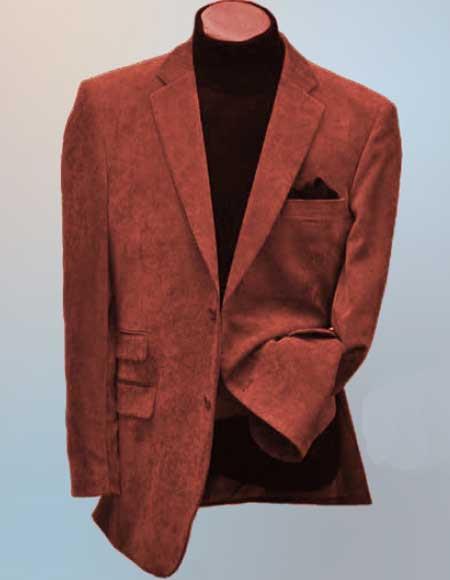 Mens Rust Side Vents Notch Lapel 2 Button Wool Blend Corduroy Blazer