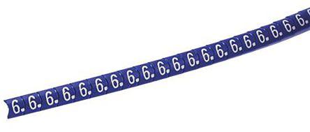 HellermannTyton Helagrip Slide On Cable Marker, Pre-printed 6 White on Blue 4 ? 9mm Dia. Range