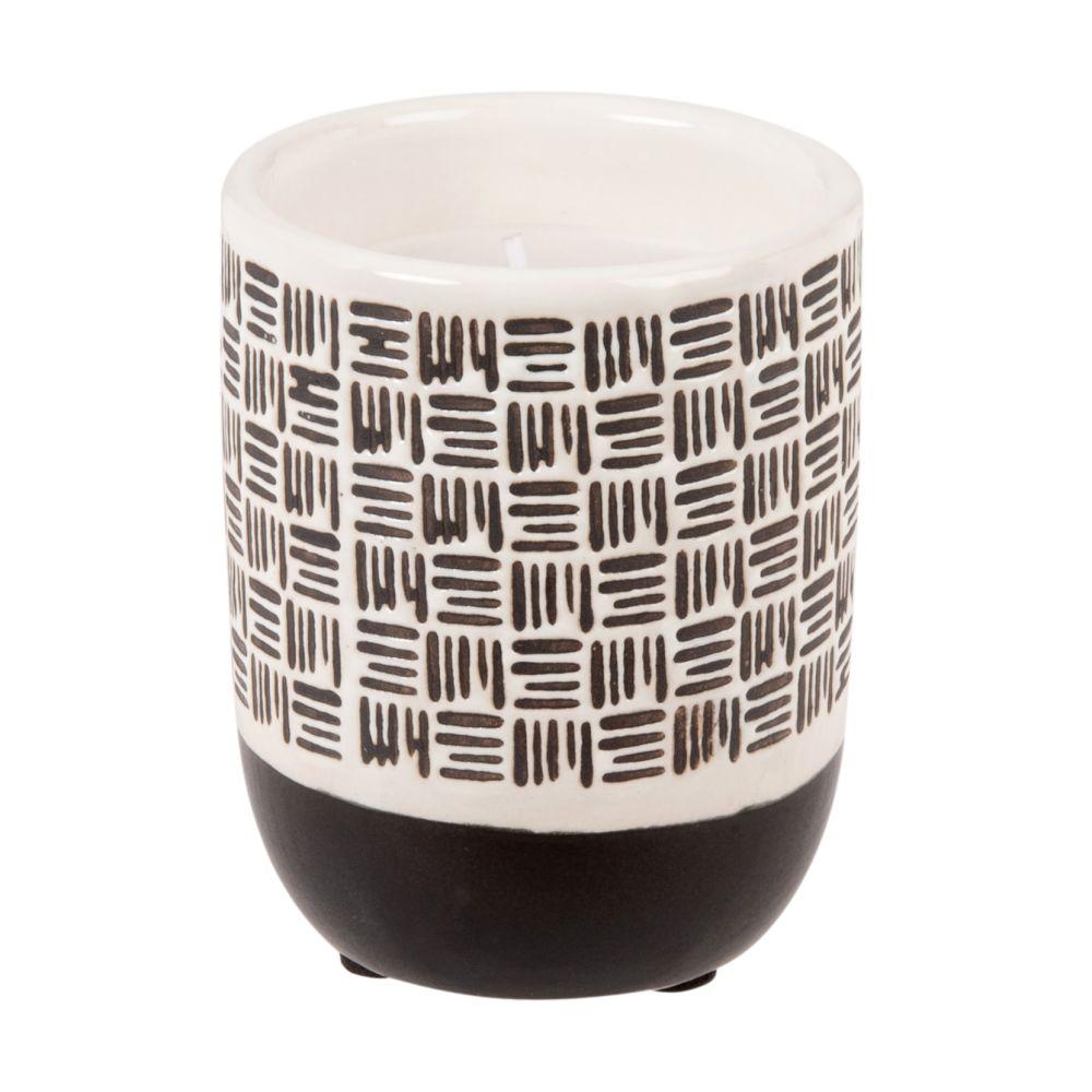 Duftkerze im Keramikgefaess, weiss und schwarz