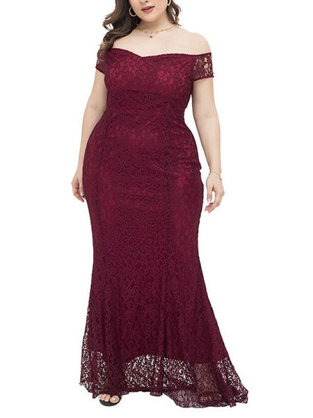 Milanoo Plus Size Evening Dress For Women Dark Red Polyester Bateau Floor Length Evening Dress
