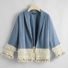 Mantel mit Schal Kragen, Fransen und Streifen