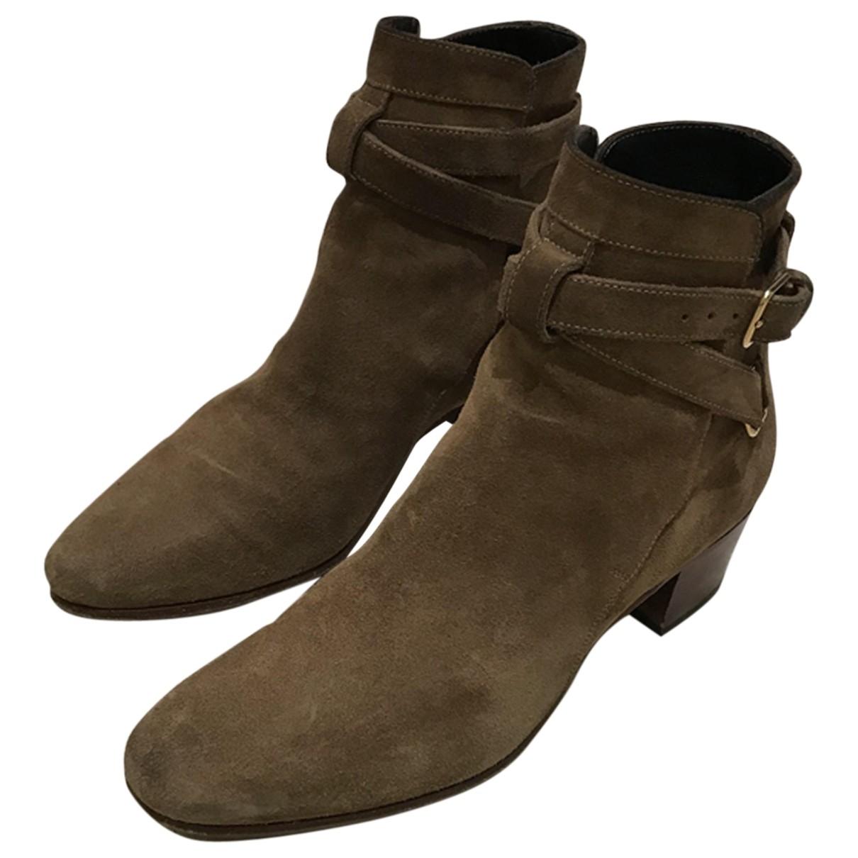 Saint Laurent - Boots Blaze pour femme en suede - camel