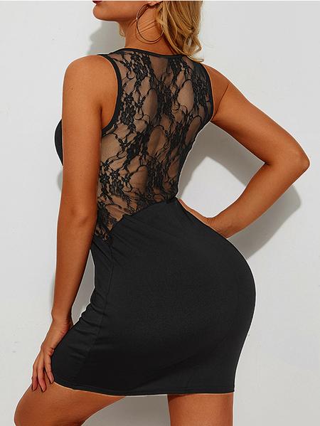 YOINS Black Lace Patchwork Square Neck Sleeveless Dress