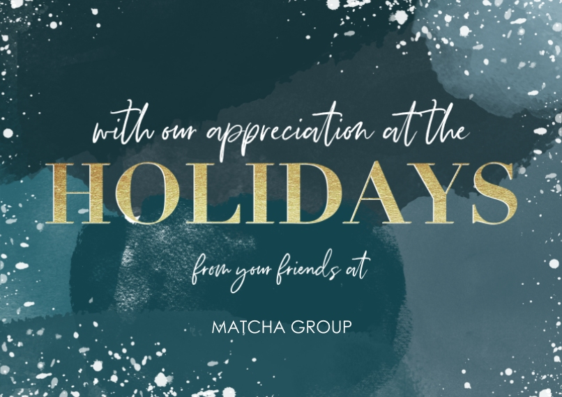 Holiday Flat Business Greeting Cards, Business Printing -Golden Holidays