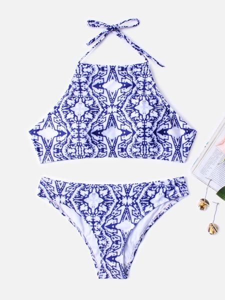 Yoins Blue Random Print Halter Bikini Set