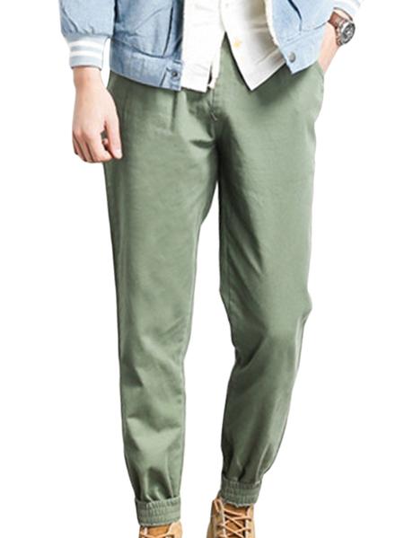 Yoins Army Green Causal Style Plain Drawstring Wasit Pocket Design Men's Harem Pants