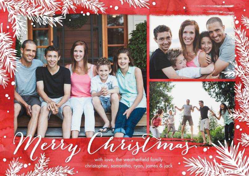 Christmas Photo Cards 5x7 Cards, Premium Cardstock 120lb with Rounded Corners, Card & Stationery -Christmas Branches by Tumbalina