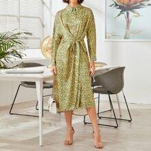 Shirt Kleid mit Knoten vorn und Gaensebluemchen Muster