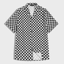 Camisa de hombres de cuadros con boton delantero