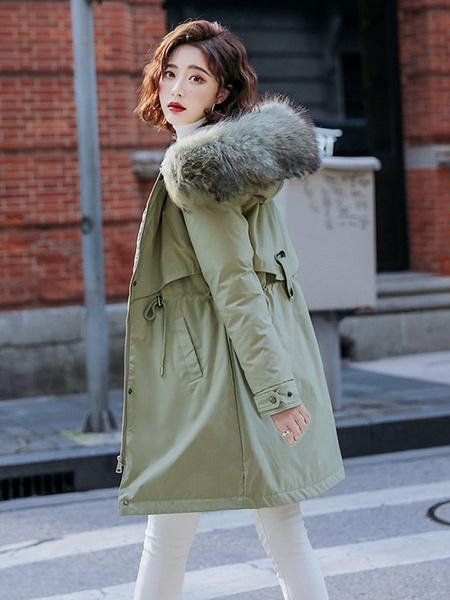 Milanoo Mujer de la capa Parka Abrigos Negro de imitacion de piel con capucha de manga larga con cordon largo invierno
