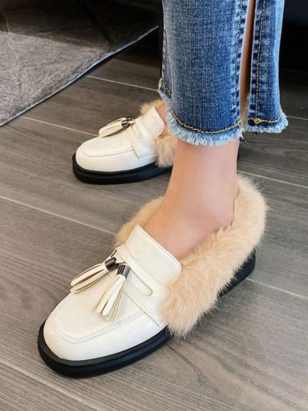 Milanoo Mocasines de mujer Zapatos casuales de punta redonda blanca Zapatos de mujer con borlas de felpa corta artificial
