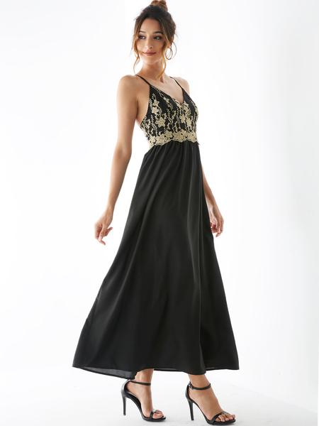 YOINS Black Backless Design Sleeveless Maxi Dress