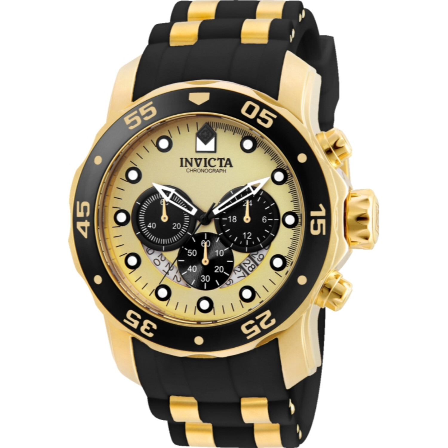 Invicta Mens Pro Diver INV-24852 Gold Silicone Quartz Fashion Watch