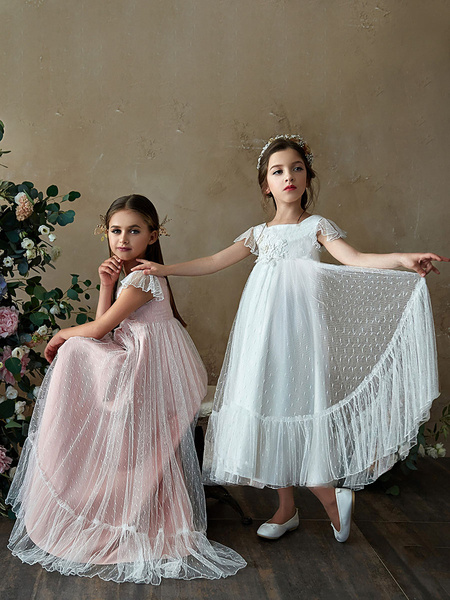 Milanoo Flower Girl A Line Party Dress Flare Sleeve White Bridesmaid Dress