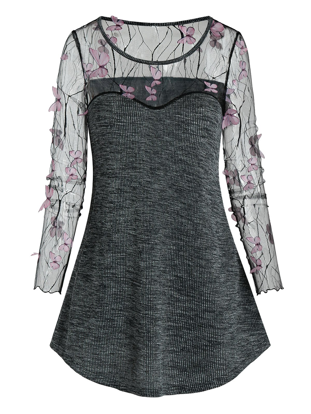 Sheer Butterfly Lace Panel Knitted Longline T Shirt