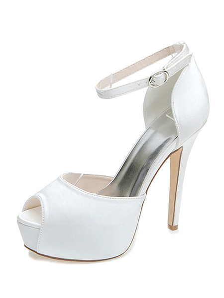 Milanoo Womens Wedding Shoes Satin Peep Toe Stiletto Heel Platform Bridal Shoes