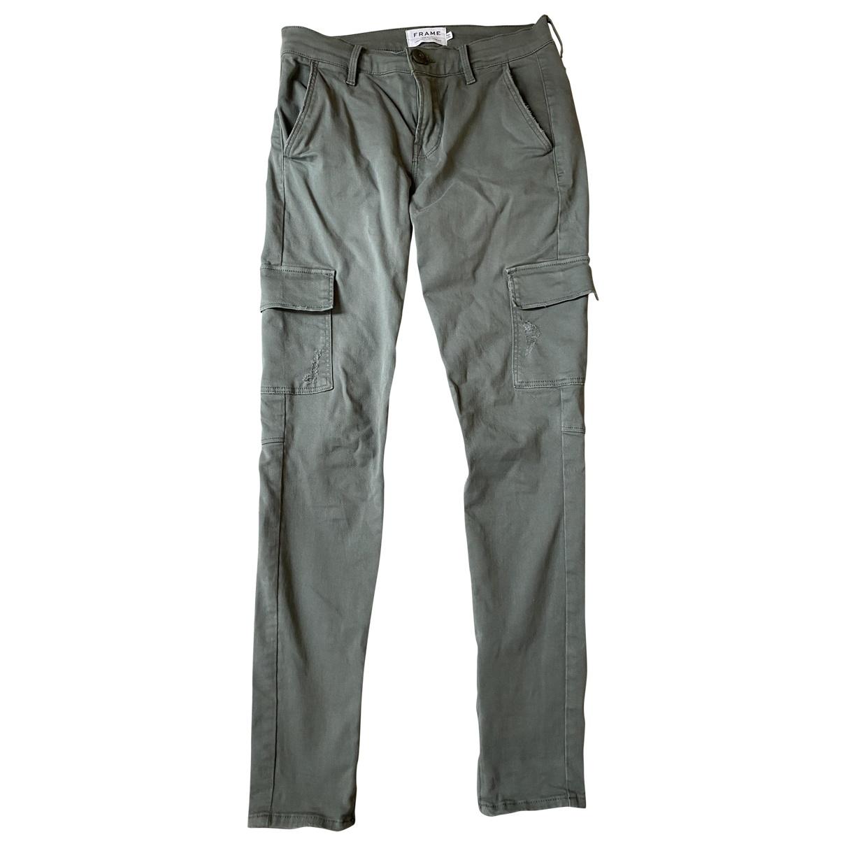 Frame Denim \N Khaki Cotton Trousers for Women 36 FR