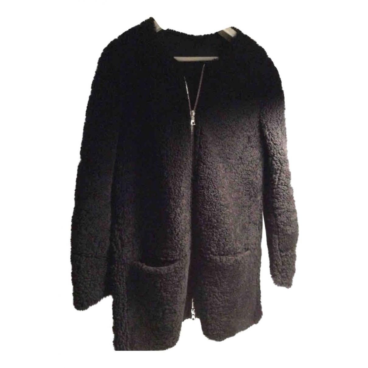 Sandro - Manteau   pour femme en mouton - noir
