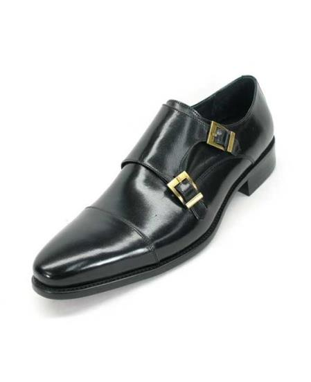 Men's Fashionable Calfskin Double Buckles Slip On Style Loafer Black