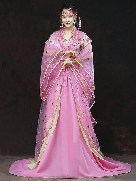 Milanoo Chinese Traditional Costume Female Hot Pink Tulle Hanfu Dress Ancient Tang Dynasty Clothing 3 Pieces