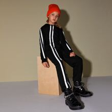 Girls Reflective Tape Striped Jumpsuit