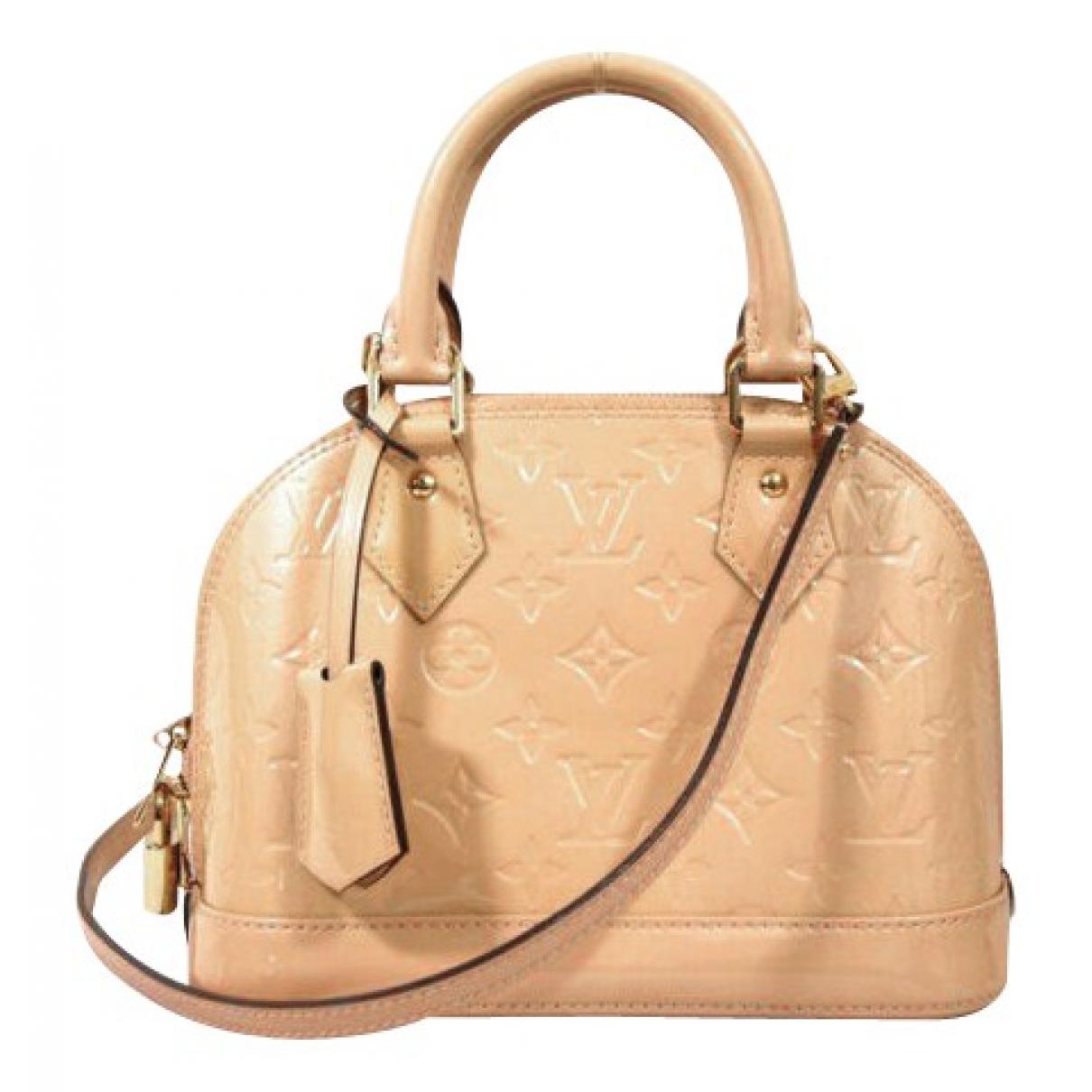 Louis Vuitton - Sac a main Alma BB pour femme en cuir verni - beige