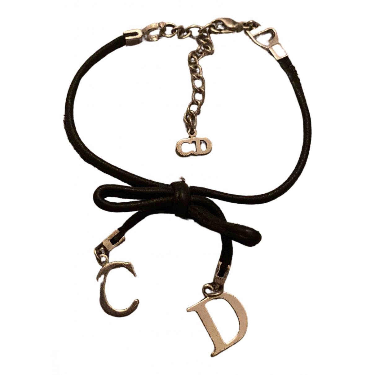Dior - Bracelet   pour femme en cuir - argente