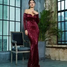Off Shoulder Sequin Floor Length Dress