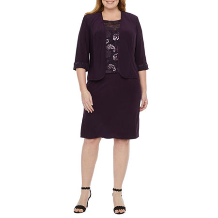 Maya Brooke-Plus 3/4 Sleeve Embroidered Jacket Dress, 18w , Purple