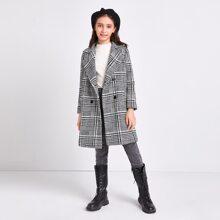 Girls Notch Collar Pocket Side Glen Plaid Pea Overcoat