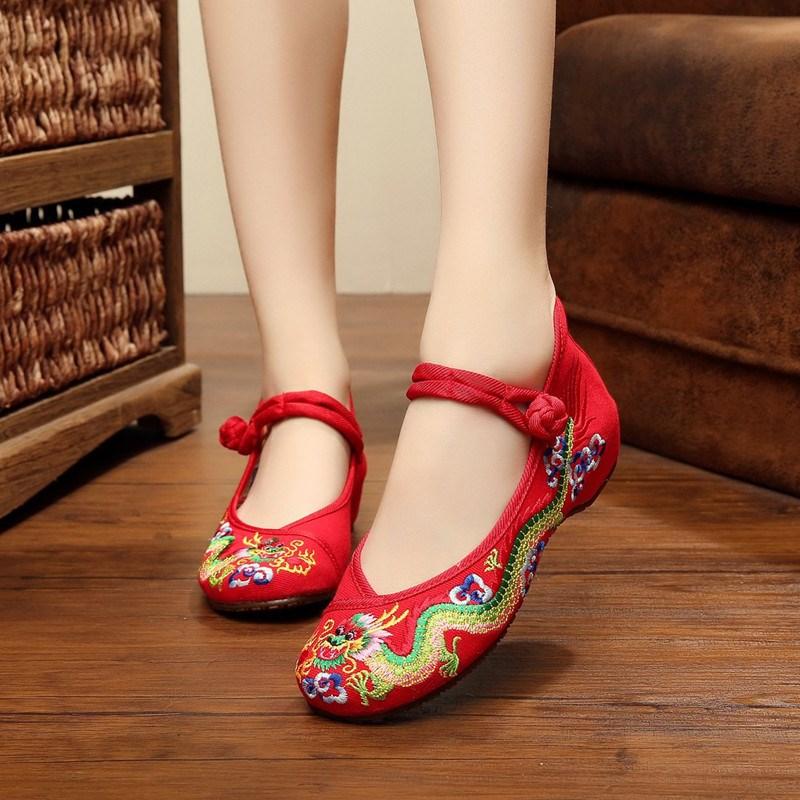 Ericdress Embroidery Hidden Elevator Heel Women's Flats