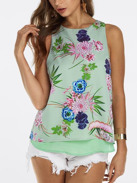 Yoins Green Slit Design at Back Random Floral Print Sleeveless Tank Top
