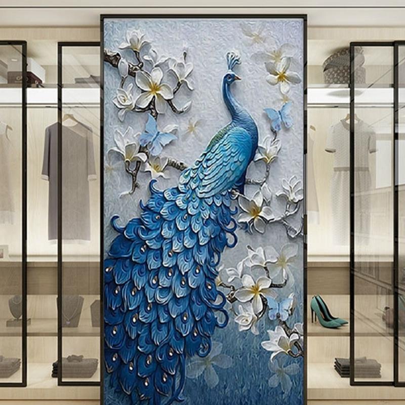 Hallway Corridor Living Room Non-woven Fabrics Waterproof Peacock 3D Wall Murals/Wallpaper